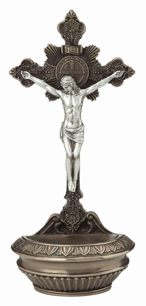 Veronese St Benedict Crucifix Cold-Cast Bronze and Pewter Holy Water Font or Rosary Holder