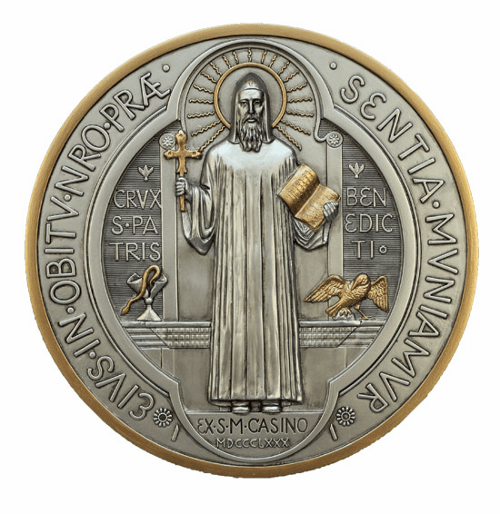 Veronese St Benedict Medal Pewter Style Finish Wall Plaque