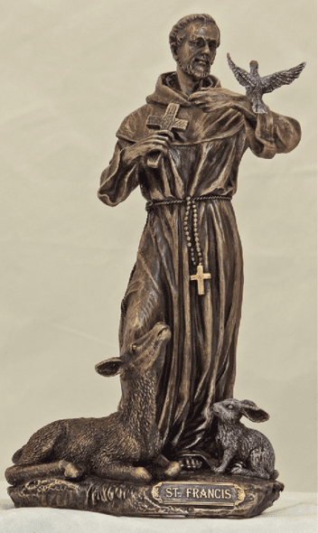 Veronese St Francis with Animals Cold Cast Bronze Statue