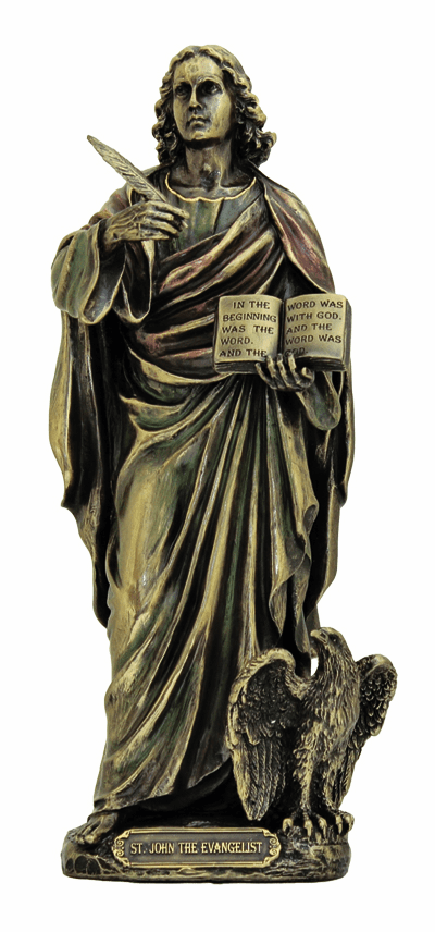 Veronese St John the Evangelist with Eagle and Bible Bronze Statue