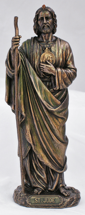 Veronese St Jude with Staff Hand-Painted Bronze Statue