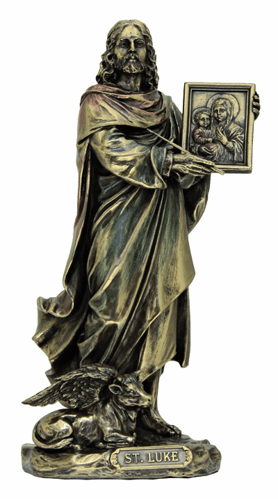 Veronese St Luke the Evangelist with Ox Holding and Icon Picture Statue