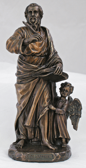 Veronese St Matthew the Evangelist with Angel Cold Cast Bronze Statue