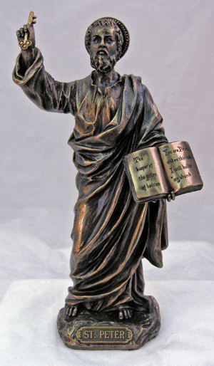Veronese St Peter Bible and a Key to the Kingdom Bronze Statue