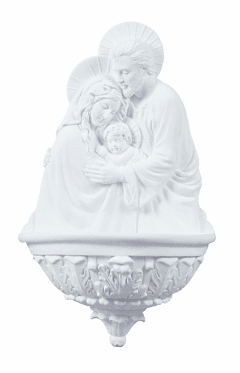 Veronese White Holy Family Water Font Statue