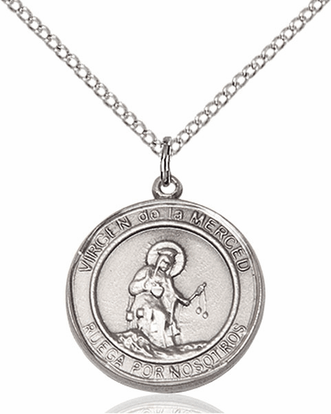 Virgen de la Merce/Our Lady of Mercy Spanish Pewter Medal Necklace by Bliss Manufacturing