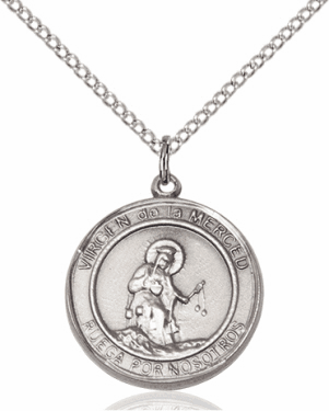 Virgen de la Merce/Our Lady of Mercy Spanish Silver-filled Medal Necklace by Bliss Manufacturing