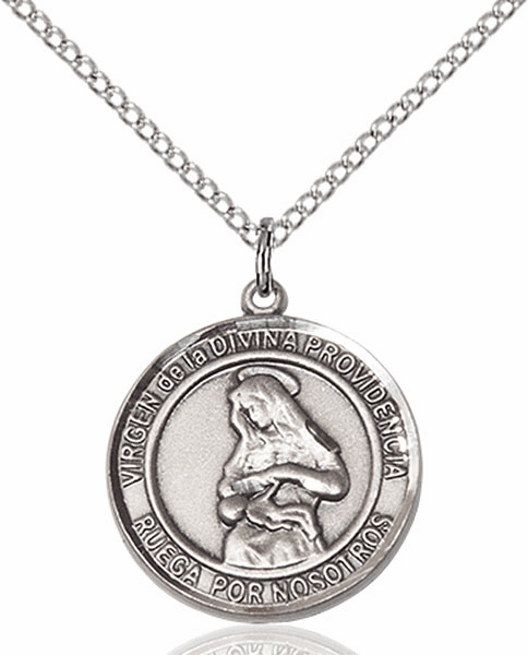Virgen de la Providencia/Our Lady of Providence Spanish Pewter Medal Necklace by Bliss Manufacturing