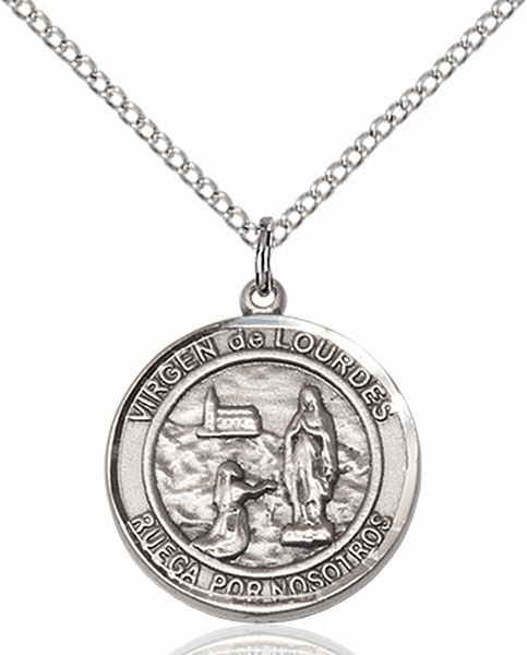 Virgen de Lourdes/Our Lady of Lourdes Spanish Pewter Medal Necklace by Bliss Manufacturing