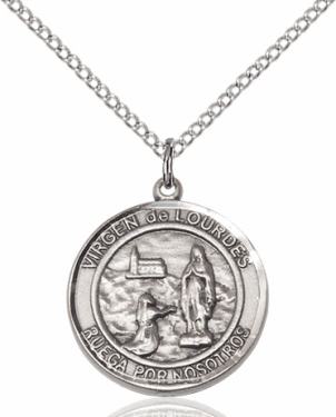 Virgen de Lourdes/Our Lady of Lourdes Spanish Silver-filled Medal Necklace by Bliss Manufacturing