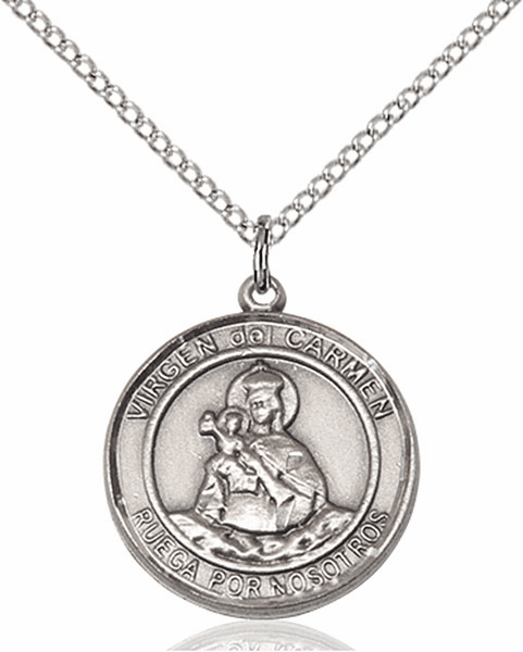 Virgen del Carmen/Our Lady of Mt Carmel Spanish Pewter Medal Necklace by Bliss Manufacturing