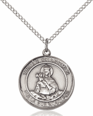 Virgen del Carmen/Our Lady of Mt Carmel Spanish Silver-filled Medal Necklace by Bliss Manufacturing