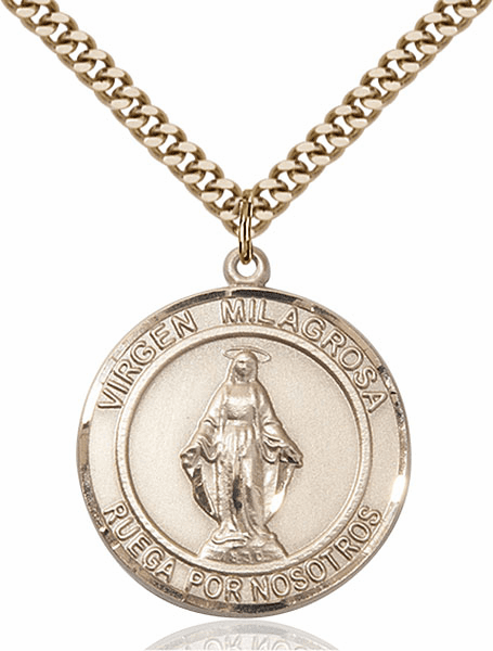 Virgen Milagrosa 14kt Gold-filled Round Patron Saint Medal Necklace by Bliss
