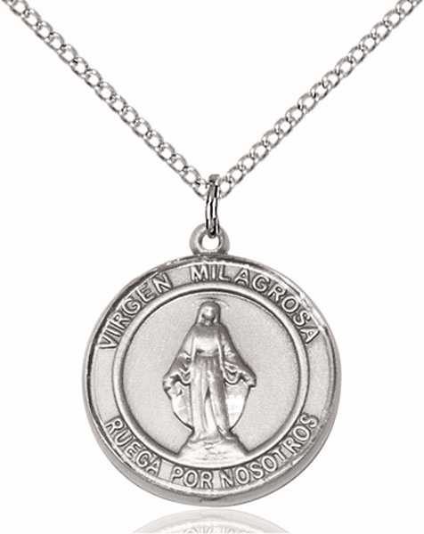 Virgen Milagrosa/Our Lady of Miraculous Spanish Silver-filled Medal Necklace by Bliss Manufacturing