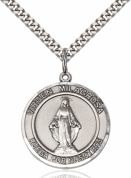 Virgen Milagrosa Pewter Round Patron Saint Medal Necklace by Bliss