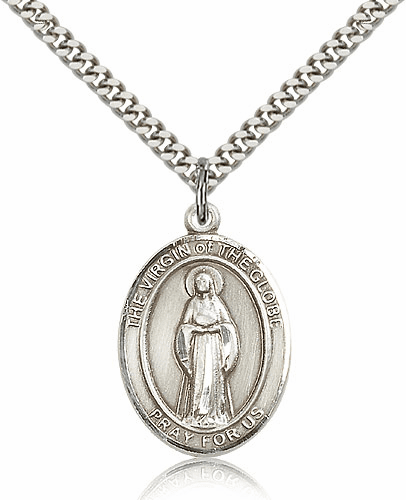 Virgin of the Globe Sterling Silver Patron Medal Necklace by Bliss