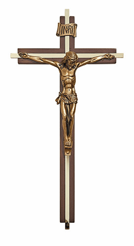 "Walnut Finish 8"" Gold Plate Crucifix with INRI Scroll by James Brennan"