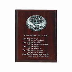Walnut Finish Marriage Blessing Plaque