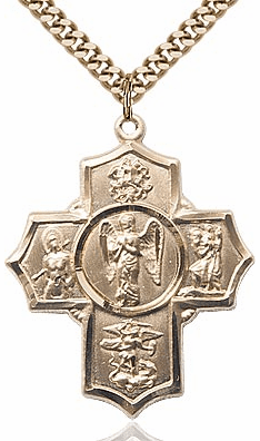 Warrior Five-Way Cross 14kt Gold-filled Pendant Necklace by Bliss