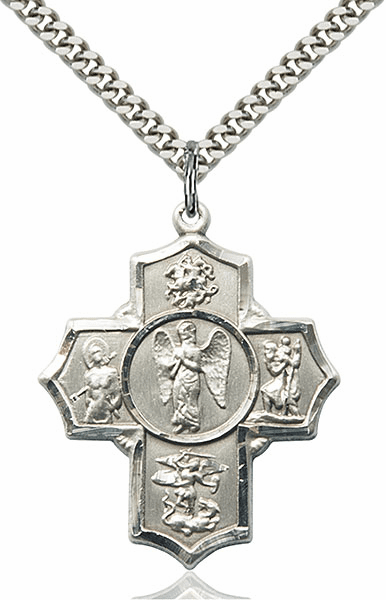 Warrior Five-Way Cross Sterling Silver Pendant Necklace by Bliss