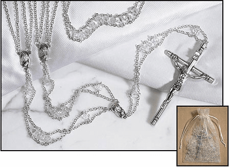 Wedding Austrian Crystal Ladder Lasso Silver-Plated Rosary