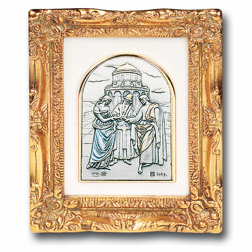 Wedding/Marriage Sterling Image w/Antique Gold Frame Picture by Salerni