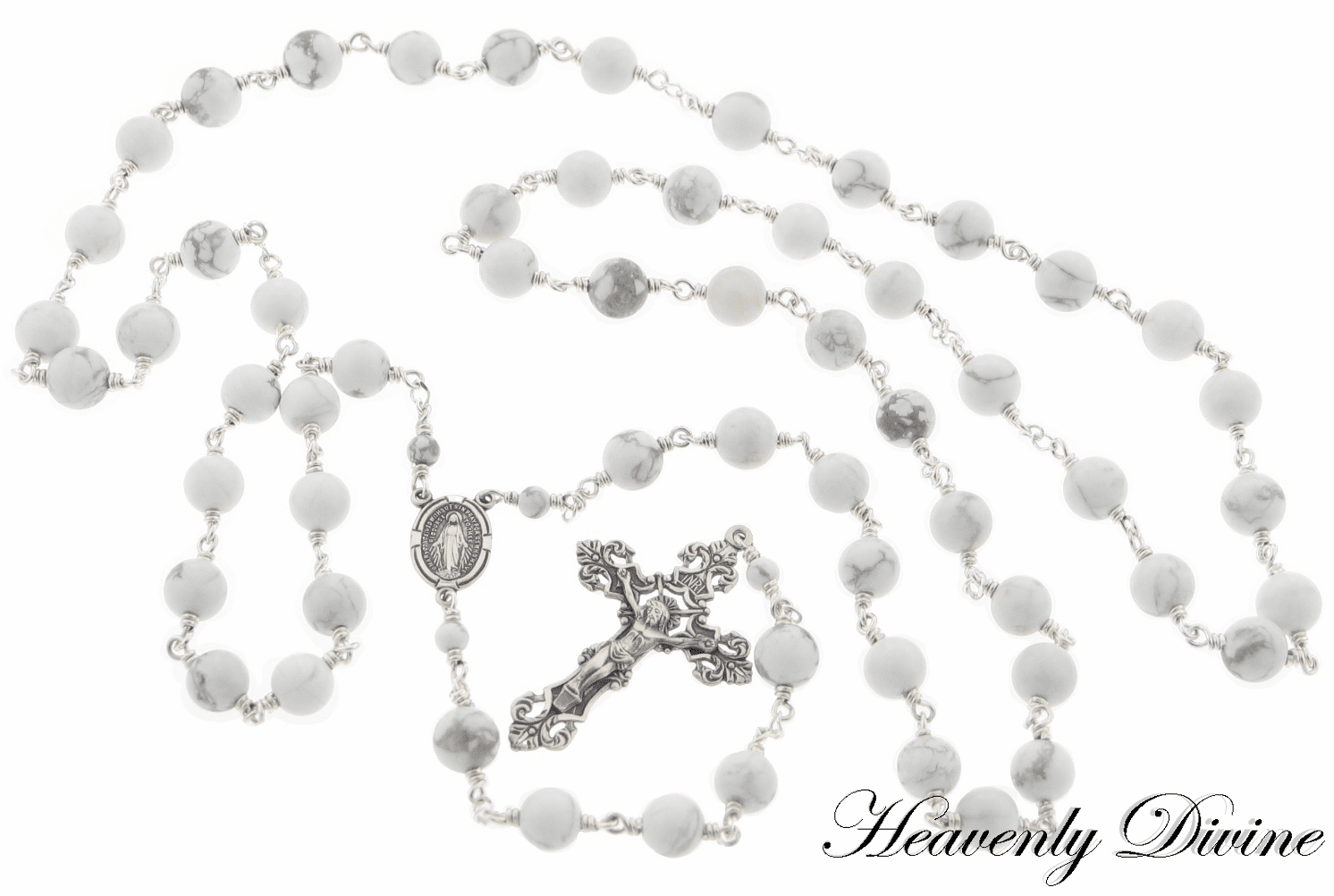 White Howlite Sterling Silver Rosary by Heavenly Divine