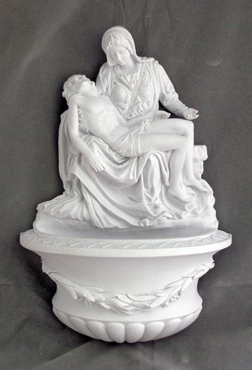 White Resin Pieta Religious Holy Water Font by Veronese Collection