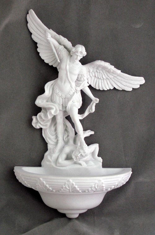 White Resin St Michael Religious Holy Water Font by Veronese Collection