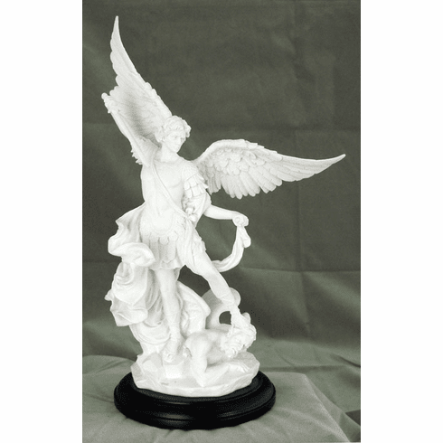 White Resin St Michael Religious Statue with Base by Veronese Collection