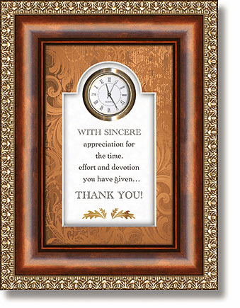 With Sincere Appreciation Tabletop Clock Framed under Glass by Heartfelt