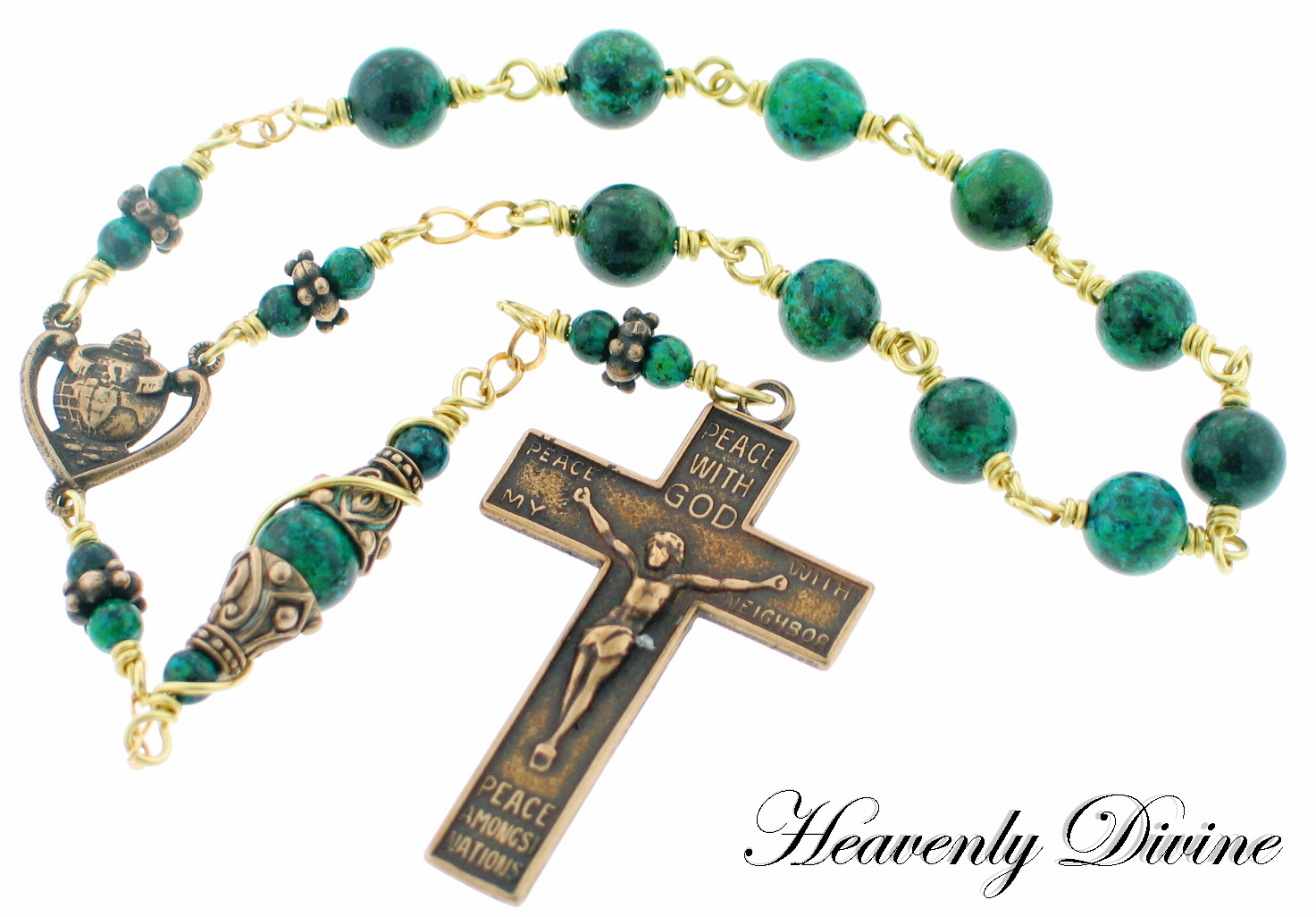 World Conversion Peace with God Bronze Pocket Rosary by Heavenly Divine
