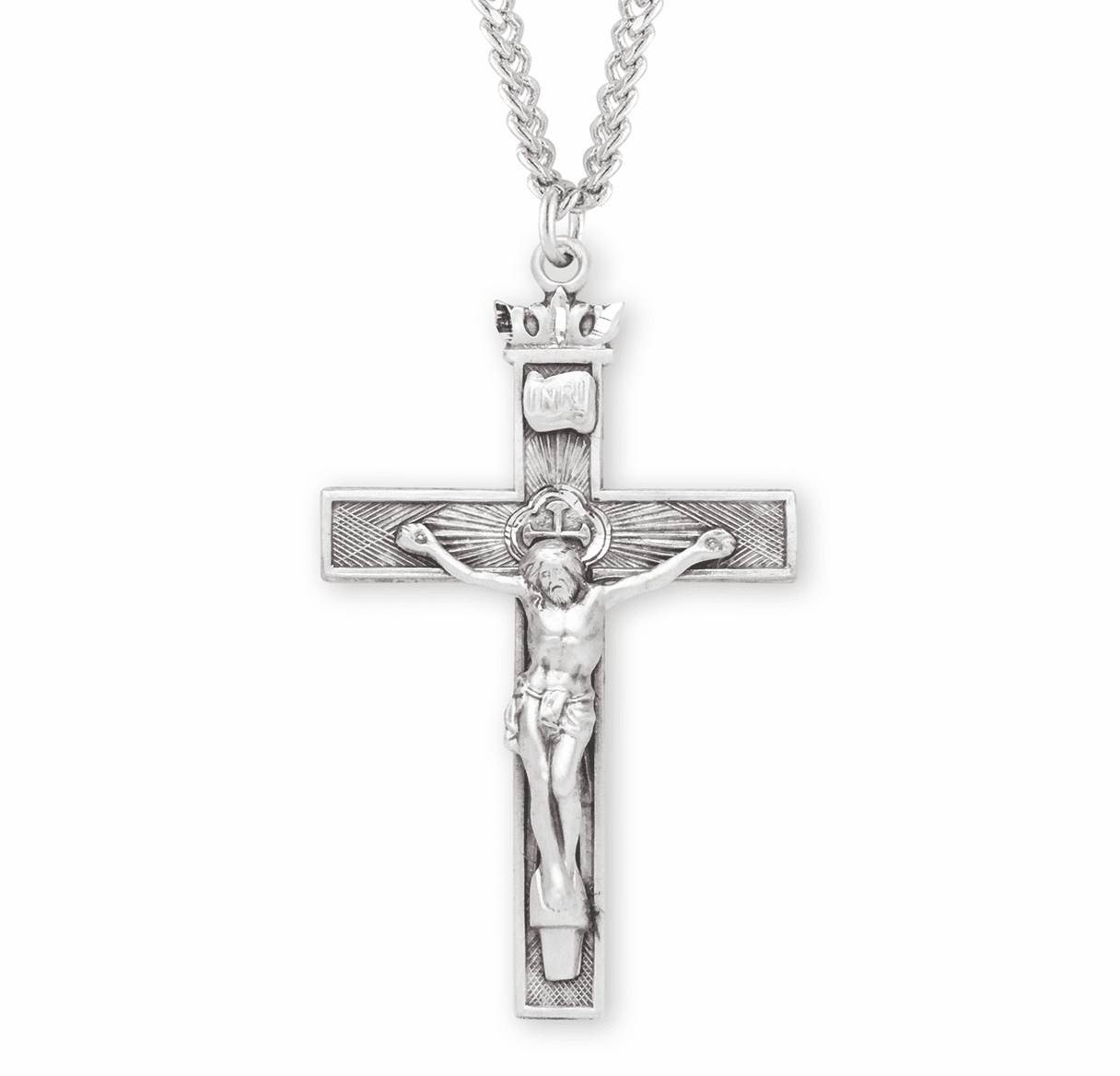Woven Cross w/Crown Sterling Silver Crucifix Necklace by HMH Religious
