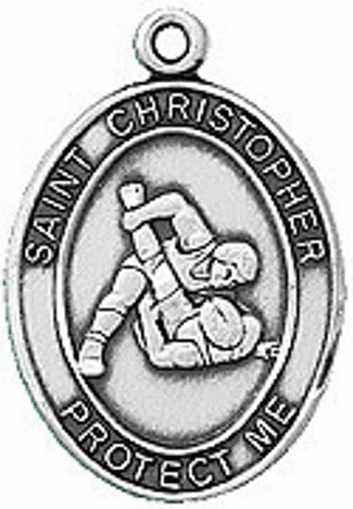 Wrestling St Christopher Pewter Patron Saint Medal by Jeweled Cross
