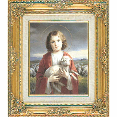Young Child Jesus under Glass w/Gold Framed Picture by Cromo N B Milan Italy