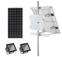 Earthtech Products Solar Sign & Landscape Light Kit - 2 Lights (2400 Lumens Total), 1 - 100W Solar Panel, 55 Ah Battery - 8 Hour Run Time