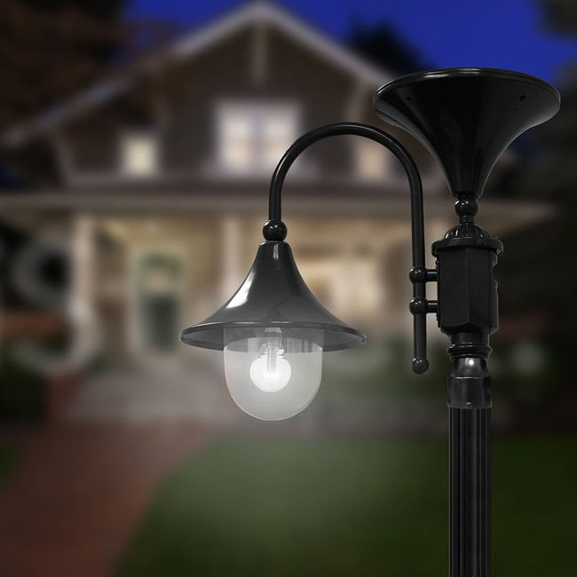 Everest Solar Lamp with GS Solar LED Light Bulb in Black - Fits Existing 3 Post