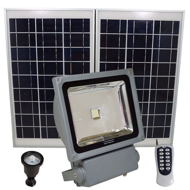 FL12W LED Solar Flood Light with Remote Control, SMD LED, Lithium Ion Battery and PIR Motion Features