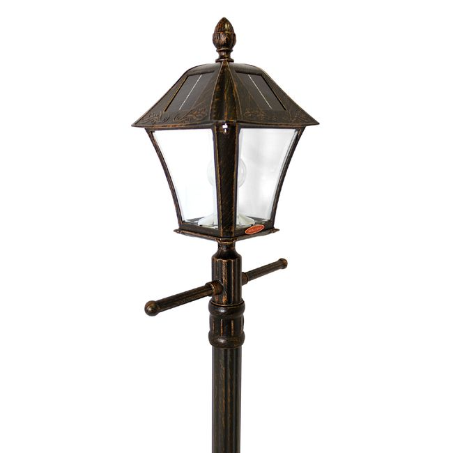 Gama Sonic Baytown Bulb Solar Lamp Post with EZ-Anchor and Planter Base - Brushed Bronze