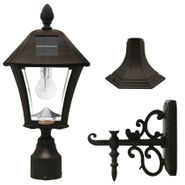 Gama Sonic Baytown Bulb Solar Light - With Pole, Post & Wall Mount Kit - Black