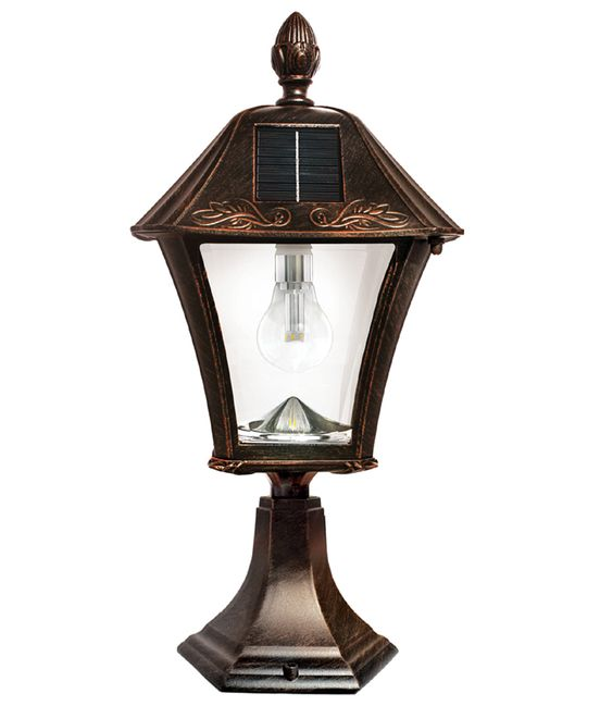 Gama Sonic Baytown Bulb Solar Light - With Pole, Post & Wall Mount Kit - Brushed Bronze