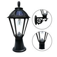 Gama Sonic Polaris Bulb Solar Light - With Pole, Post & Wall Mount Kit - Black
