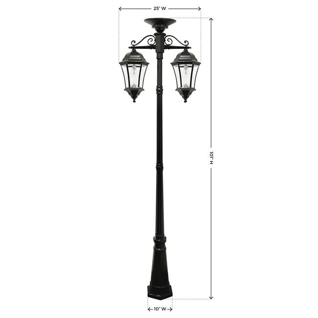 Gama Sonic Victorian Bulb Double Downward Hanging Solar Lamp Post