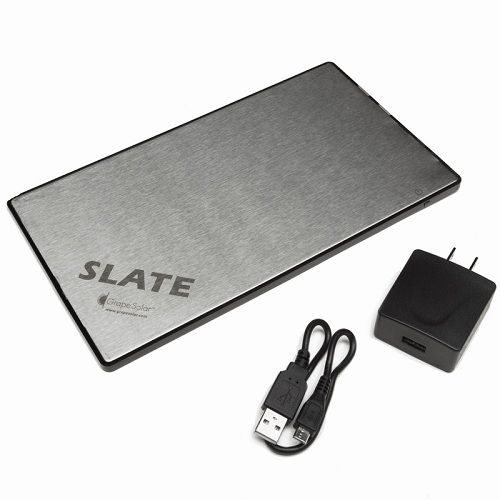 Grape SolarSlate Portable Device Charger 11000 mAh Lithium Ion Rechargeable Battery