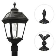 Imperial Solar Lamp Post with GS Solar Light Bulb with Eagle & Acorn Finials - 7 Foot
