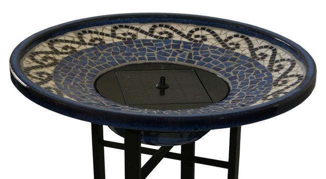 Mosaic Solar Birdbath with Metal Stand