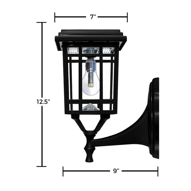 Prairie Bulb Solar Lamp Post Light in Black