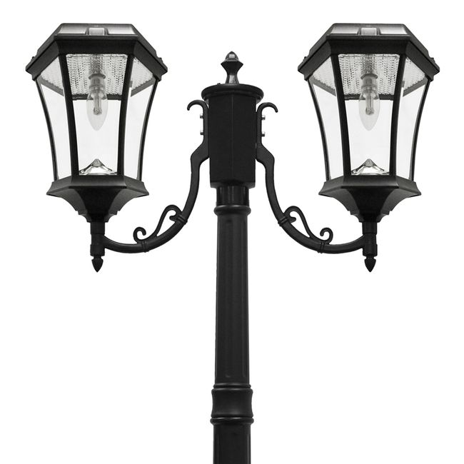 Victorian Double Solar Lamp Post with Warm White GS Solar Light Bulb
