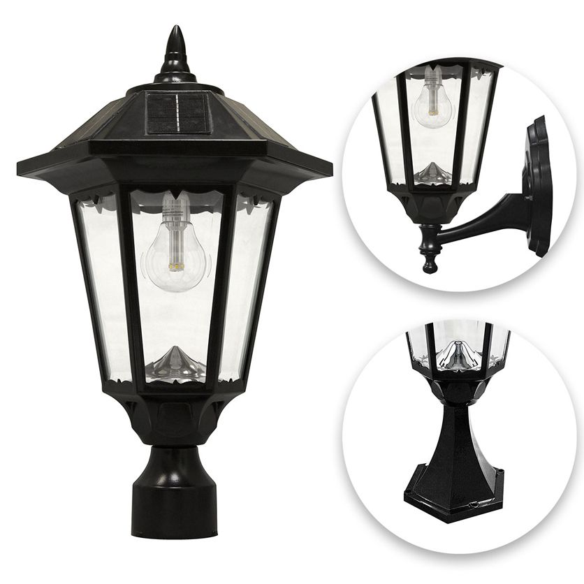 Gama Sonic Windsor Bulb Solar Light With Pole Post Wall Mount Kit Black
