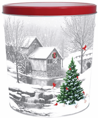 3 1/2 Gal. Snow Covered Mill Gift Tin